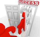 Walking Through Success Doorway Achieve Goals — Stock Photo