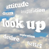 Look Up - Positive Attitude Words in Sky — Stock Photo