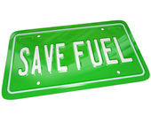 Save Fuel Green License Plate Earth Friendly Power — Stock Photo