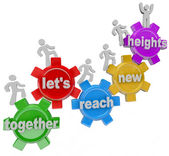 Together Let's Reach New Heights Team on Gears — 图库照片