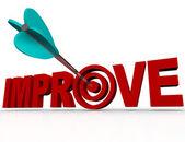 Melhorar a flecha no alvo - objetivo de melhoria bem sucedido — Foto Stock
