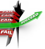 Success Arrow Jumps Chasm Failure Falls Into Hole — Stock Photo