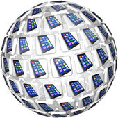 Smart Phones App Tiles Sphere Pattern — Stock Photo