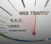 Web Traffic SEO Links Speedometer Online Growth — Stock Photo