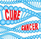 Cure Cancer Words in DNA Strands Medical Research — Stock Photo