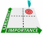 Urgency Importance Matrix - Arrow and Target — 图库照片