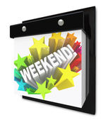 Weekend Word on Wall Calendar Fun Plans Time Off — Stock Photo