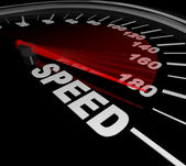 Speed Word on Speedometer Win Race Be Fast and Quick — Stock Photo