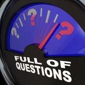 Full of Questions Fuel Gauge Asking for Answers — Stock Photo