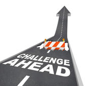 Challenge Ahead Hole in Road Construction Danger Warning — Stock Photo
