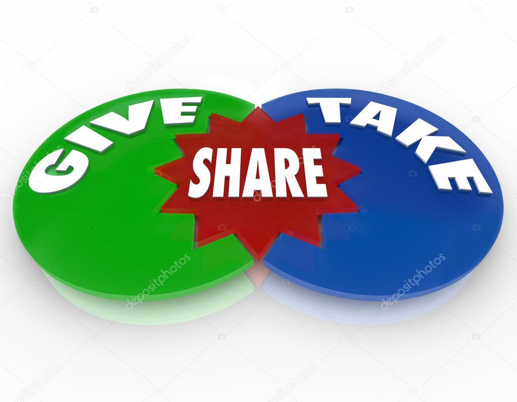 A Venn diagram with circles marked Give Take and Share to illustrate the benefit of sharing knowledge or valuable assets with others — Stock Photo #8553632