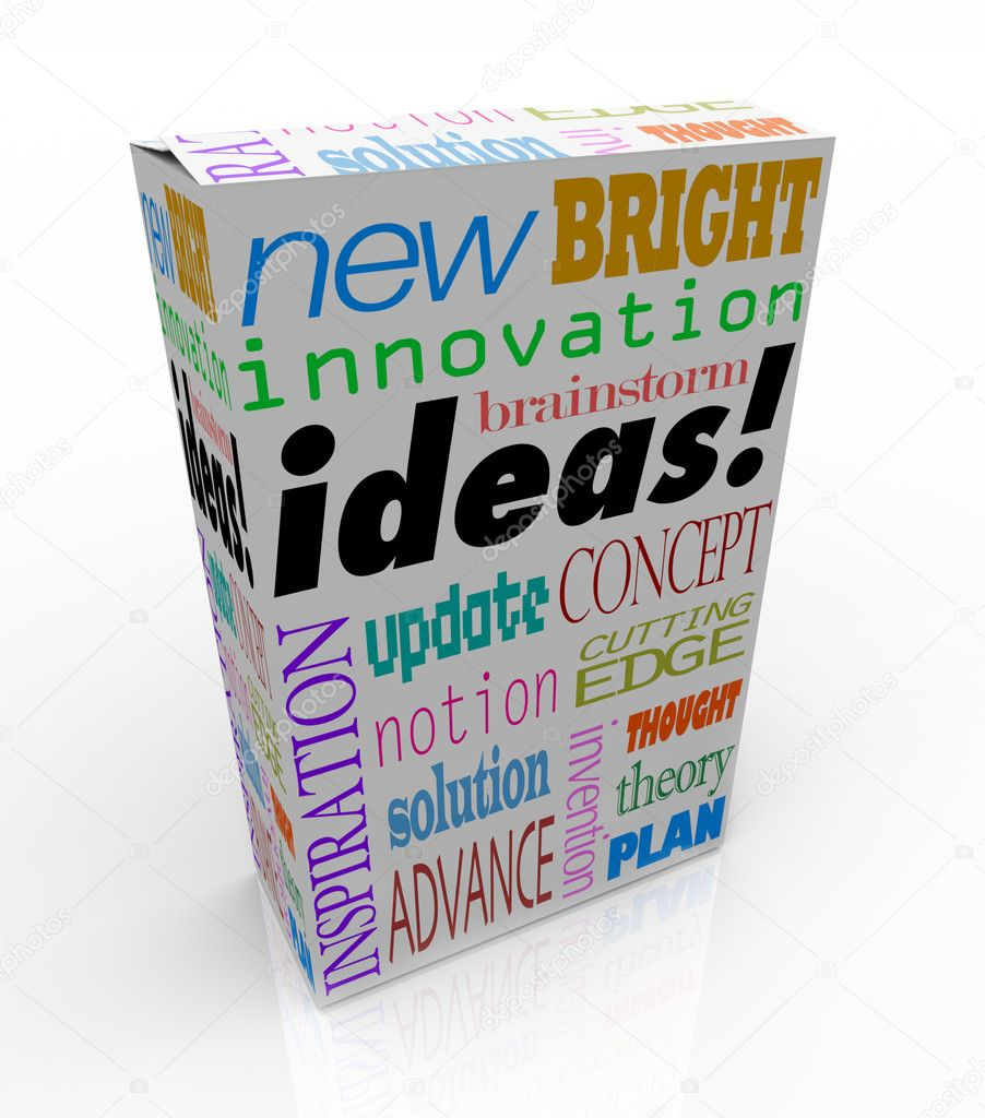 The word Ideas on a product box you could buy at a store for instant inspiration, innovation, concepts, brainstorms, inventions and plans — Stock Photo #8553976