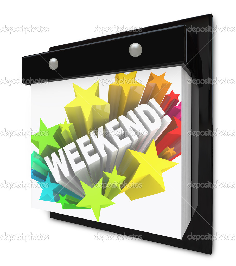 A wall calendar with the word Weekend in a colorful starburst representing the anticipation you have for your break from work or school and the plans made for f — Stock Photo #8553994