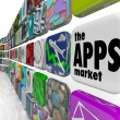 The Apps Market Wall of App Application Software Icons — Foto Stock