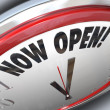 Royalty-Free Stock Photo: Now Open Clock Announcing Grand Opening