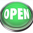 Stock Photo: Open Round Green Button Opening Business or Press to Start