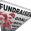 Fundraiser Thermometer Tracks Goal Reached Success - Stock Photo