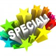Stock Photo: Special Word Stars Unique Savings Sale Event