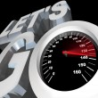 Lets Go Speedometer Excited Ready to Begin Start - Stock Photo