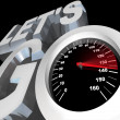 Lets Go Speedometer Excited Ready to Begin Start - Stok fotoğraf
