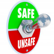Stock Photo: Safe or Unsafe Toggle Switch Choose Safety vs Danger