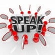 Speak Up Speech Bubble Talking in Group — Stock Photo