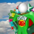Captain Cash Super Hero Fights for Lower Prices to Save Money - Stock Photo