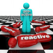 Proactive Person Wins Vs Reactive Inactivity Lose — Stock Photo