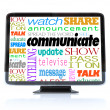 Communicate Words on High Definition Television HDTV — Stock Photo