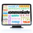 Communicate Words on High Definition Television HDTV - Stock Photo