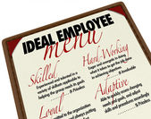 Ideal Employee Menu for Choosing Job Candidate — Стоковое фото