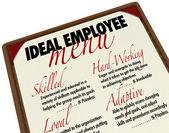 Ideální zaměstnanec menu pro volbu zaměstnání kandidáta — Stock fotografie