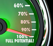 Reaching Full Potential Speedometer Tracking Goal — Stock Photo