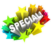 Special Word Stars Unique Savings Sale Event — Stock Photo