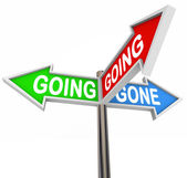 Going Going Gone 3 Three-Way Street Signs Directions — Stock Photo