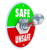 Safe or Unsafe Toggle Switch Choose Safety vs Danger — ストック写真
