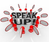 Speak Up Speech Bubble Talking in Group — Stok fotoğraf
