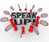 Speak Up Speech Bubble Talking in Group — Stock Photo