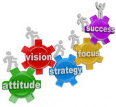 Vision Strategy Gears Rise to Achieve Success — Stock Photo