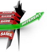 Diferentes beats mismo flechas de statu quo de vs innovación única — Foto de Stock