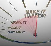 Make it Happen Speedometer Dream Plan Work Achieve Gaol — Stock Photo