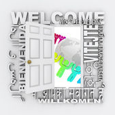 Welcome Word Door Greeting Around World — Stock Photo