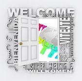 Welcome Word Door Greeting Around World — Stock Photo