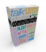 Palavras de comunicação na caixa compartilhar idéias e mensagens — Foto Stock