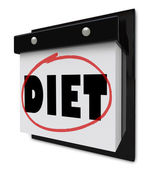 Diet Word on Wall Calendar Reminder to Lose Weight — Stock Photo