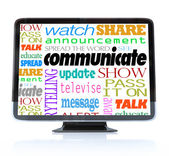 Communicate Words on High Definition Television HDTV — Stok fotoğraf