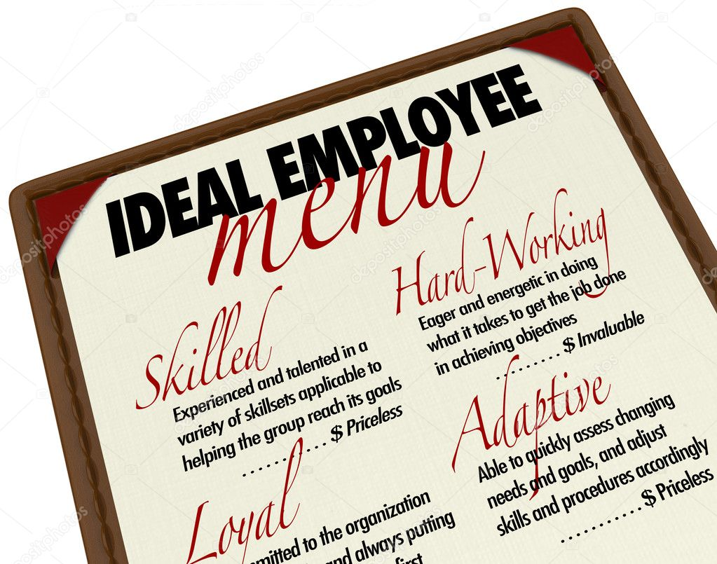 A menu showing you the options for choosing an ideal employee, with qualities such as skilled, hard-working, loyal and adaptive — Photo #9056775
