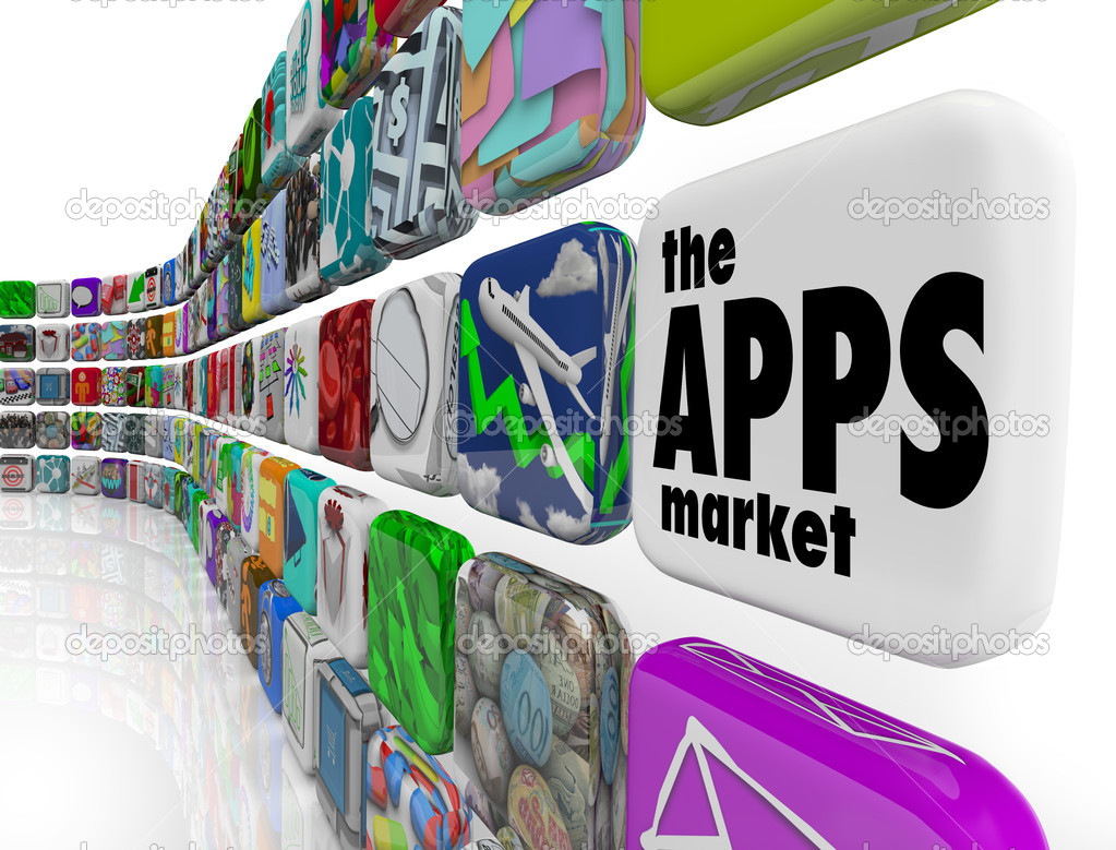 The words App Market on a white application tile in a wall of apps in a store which sells software programs for download to your smart phone or other electronic — Stock Photo #9056799