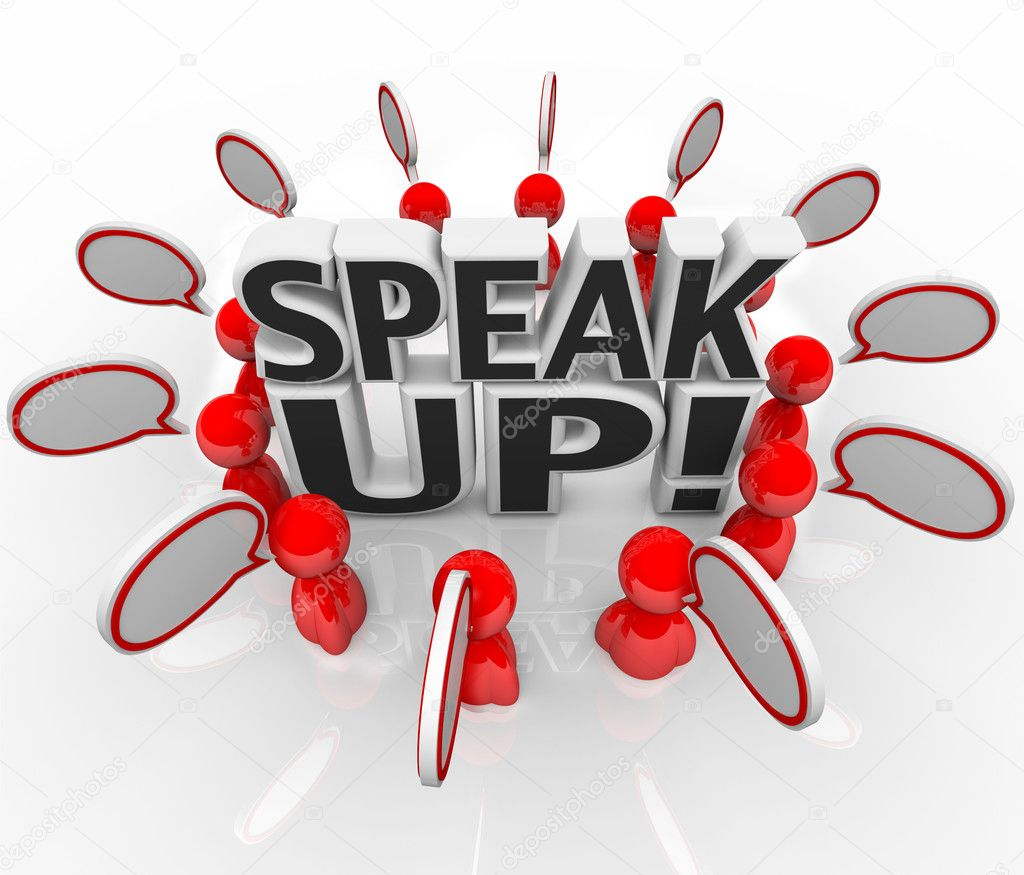 A group of talking with speech clouds around the words Speak Up to symbolize the sharing of thoughts, opinions, feedback, and viewpoints — Stock Photo #9057227