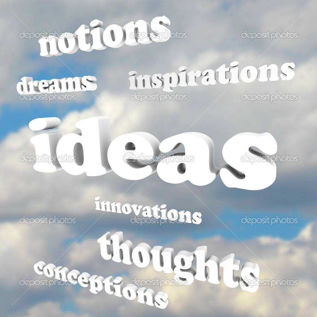 Many words such as Ideas, Inspirations, Innovations, Thoughts and Dreams in a cloudy blue sky as a background to symbolize creativity  Stock Photo #9057239